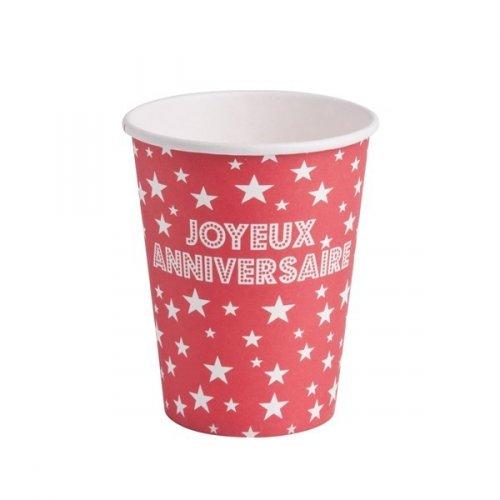 10 Gobelets Joyeux Anniversaire Rouge