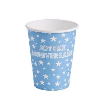 10 Gobelets Joyeux Anniversaire Bleu