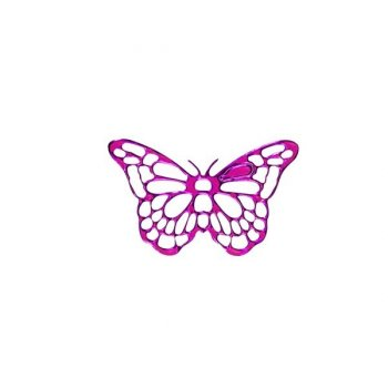 25 Stickers dentelle Papillon Fuschia