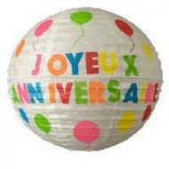 2 Lanternes Deco Joyeux Anniversaire Multicolore (30 cm) - Papier