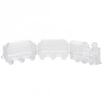 3 Boites Train à garnir (7 cm) - Plastique Crystal