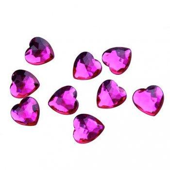 50 Confettis Coeurs Diamant Fuchsia (1,5 cm) - Plastique