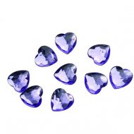50 Confettis Coeurs Diamant Violet (1,5 cm) - Plastique
