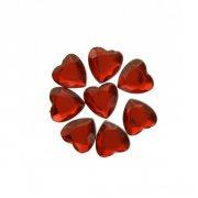 50 Confettis Coeurs Diamant Rouge (1,5 cm) - Plastique