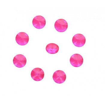 100 Confettis Diamants Rose Fuschia (1 cm) - Plastique