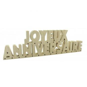 Supports Lettres Joyeux Anniversaire (39 cm) Bois Brut