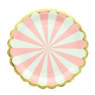 8 Assiettes Kermess - Rayures Rose