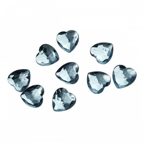 50 Confettis Coeurs Diamant Transparente (1,5 cm) - Plastique