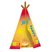 8 Invitations Tipi Indien Rainbow