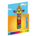 8 Invitations Totem Indien Rainbow