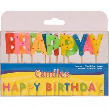 Bougie Happy Birthday à pois