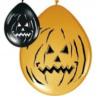 Lot de 8 ballons Halloween Pumpkin noir/orange