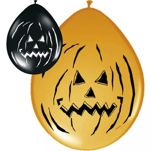 Lot de 8 ballons Halloween Pumpkin noir/orange