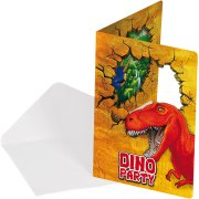 6 Invitations Dinosaure