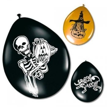 Lot de 8 ballons Halloween Orange/Noir
