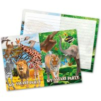 Contient : 1 x 8 Invitations Safari Party