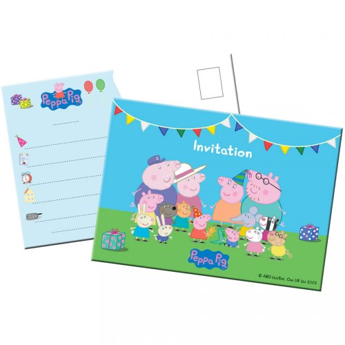 8 Invitations Peppa Pig Party