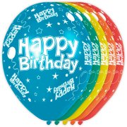 5 ballons Happy Birthday Rainbow