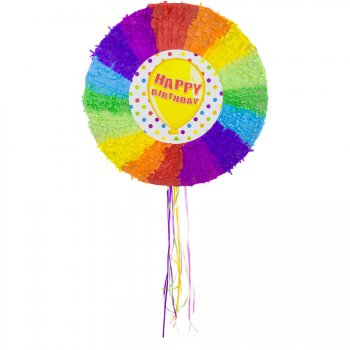 Pull Pinata Happy Birthday Rainbow (48 cm) Dépliable