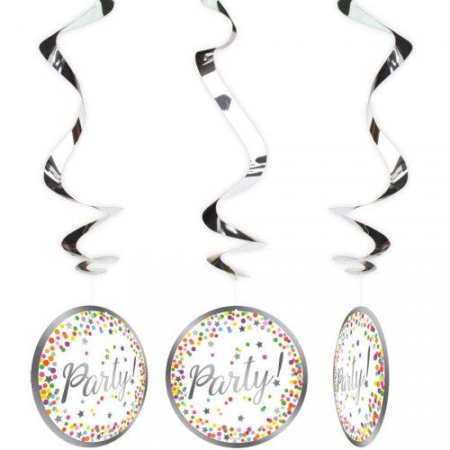 3 Guirlandes Spirales Confettis Party (70 cm)