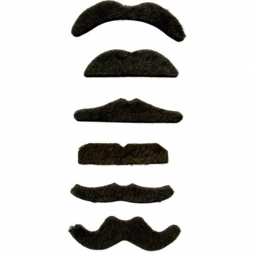 6 Moustaches Adhésives - Noir