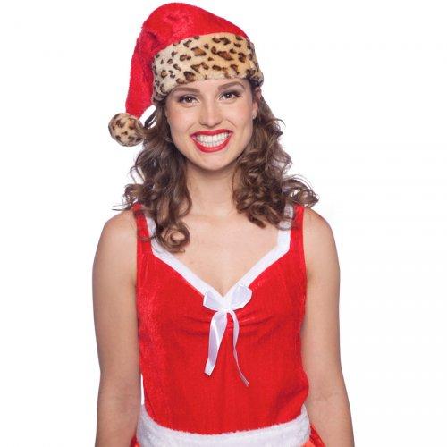 Bonnet Père Noël Leopard (enfant/adulte)