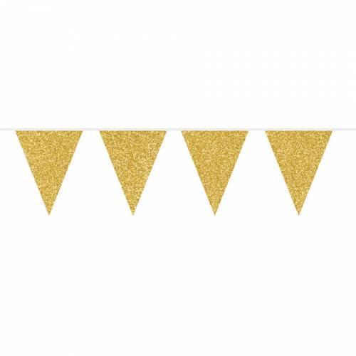Guirlande Fanions Pailletés Gold - 6 m