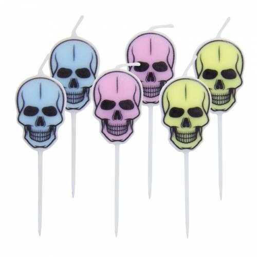 6 Bougies Tête de Mort Pastel