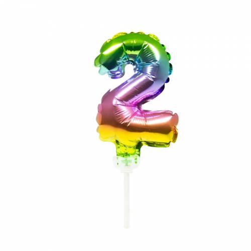 Cake Topper - Ballon Rainbow Chiffre 2