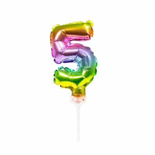 Cake Topper - Ballon Rainbow Chiffre 5