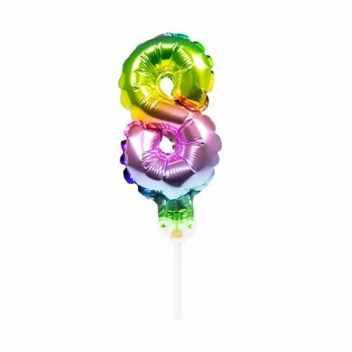 Cake Topper - Ballon Rainbow Chiffre 8