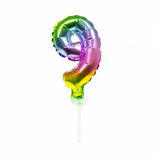Cake Topper - Ballon Rainbow Chiffre 9