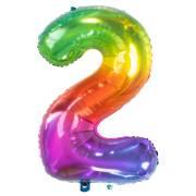 Ballon Géant Rainbow Chiffre 2 - 81 cm