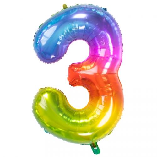 Ballon Géant Rainbow Chiffre 3 - 81 cm