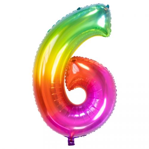 Ballon Géant Rainbow Chiffre 6 - 81 cm