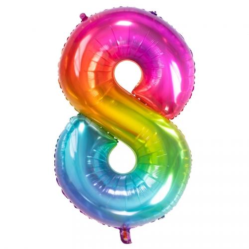 Ballon Géant Rainbow Chiffre 8 - 81 cm