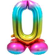 Ballon Géant Rainbow Chiffre 0 avec base (81 cm)