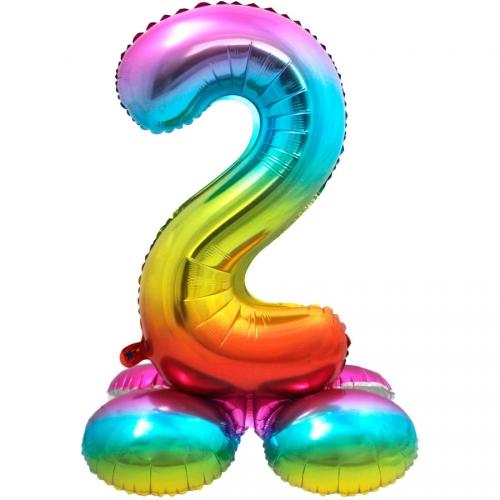 Ballon Géant Rainbow Chiffre 2 avec base (81 cm)