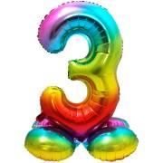 Ballon Géant Rainbow Chiffre 3 avec base (81 cm)
