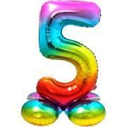 Ballon Géant Rainbow Chiffre 5 avec base (81 cm)