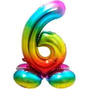 Ballon Géant Rainbow Chiffre 6 avec base (81 cm)