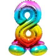 Ballon Géant Rainbow Chiffre 8 avec base (81 cm)