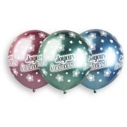 3 Ballons Joyeux Anniversaire Chromé Ø48cm
