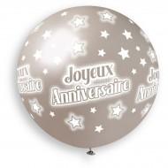 1 Ballon Argent Joyeux Anniversaire Ø80cm