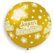 1 Ballon Or Joyeux Anniversaire Ø80cm