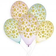 5 Ballons Or Fleurs Ø33cm