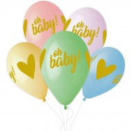 5 Ballons Or Oh baby! Ø33cm