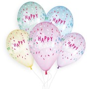 5 Ballons Happy Birthday Ø33cm