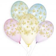 5 Ballons Or Papillon Ø33cm
