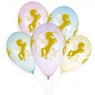 5 Ballons Licorne Or Ø33cm